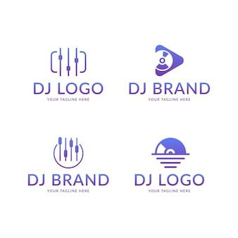 Conjunto de logotipo de dj em gradiente