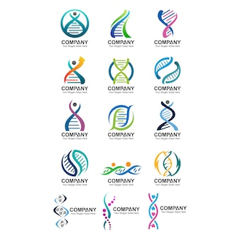 Conjunto de logotipo de dna abstrata