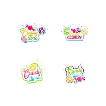Conjunto de logotipo de doces