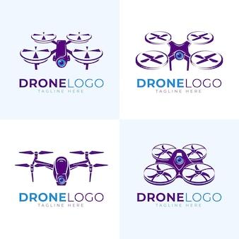 Conjunto de logotipo de drone plano