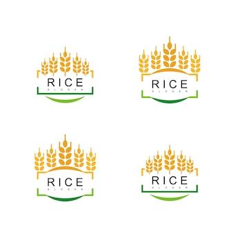 Conjunto de logotipo de emblema de arroz