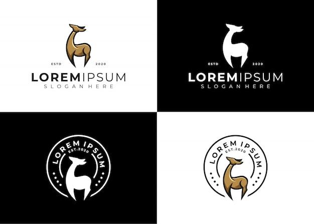 Conjunto de logotipo de emblema de cervo criativo