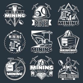 Conjunto de logotipo de empresa de mineração