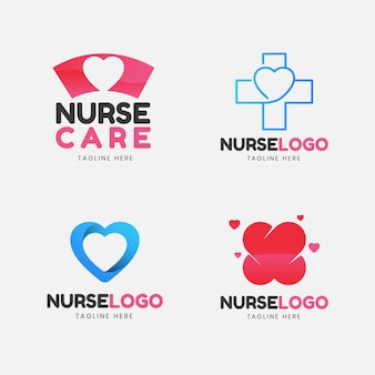 Conjunto de logotipo de enfermeira de design plano