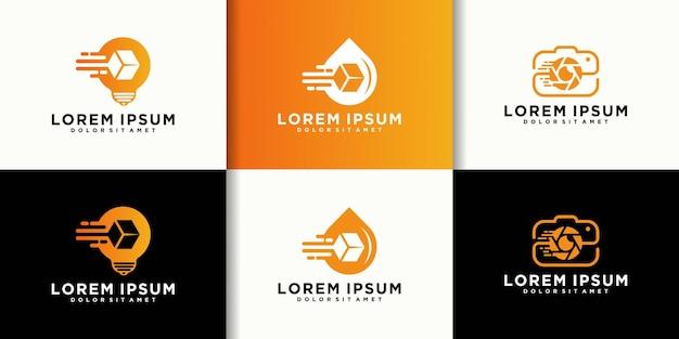 Conjunto de logotipo de entrega de mercadorias de logística, idéias de logística, queda de logística, filme de logística. ícone de entrega