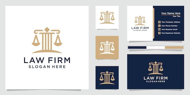 Conjunto de logotipo de escritório de advocacia e cartões de visita