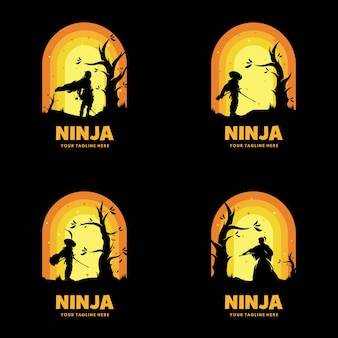 Conjunto de logotipo de espada ninja do japão