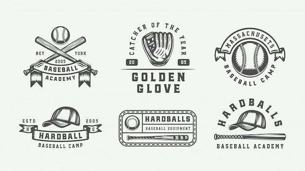 Conjunto de logotipo de esporte de beisebol