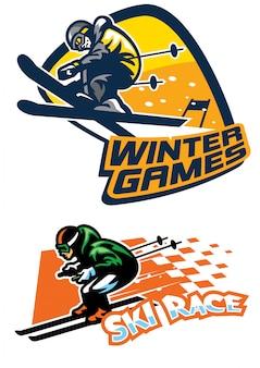 Conjunto de logotipo de esporte de esqui