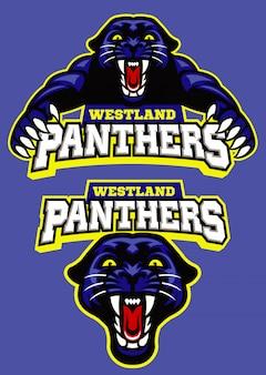 Conjunto de logotipo de esporte mascote pantera negra