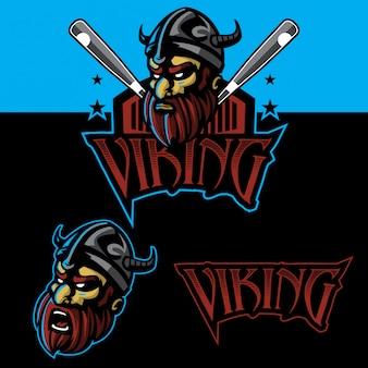 Conjunto de logotipo de esporte viking