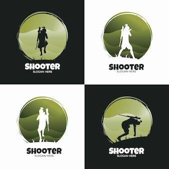 Conjunto de logotipo de estilo clássico de atirador