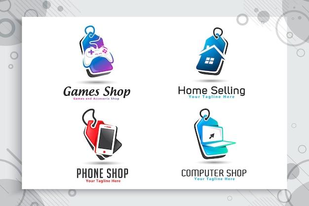 Conjunto de logotipo de etiqueta de preço de casa