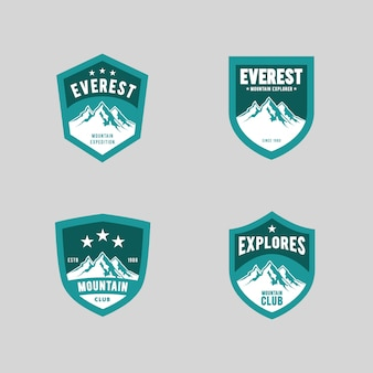 Conjunto de logotipo de expedição de montanha