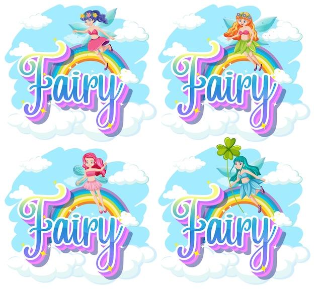 Conjunto de logotipo de fada e duende com pequenas fadas em fundo branco