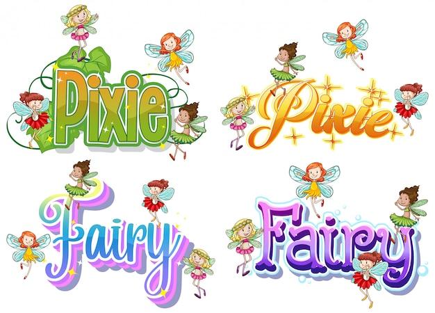 Conjunto de logotipo de fada e duende com pequenas fadas