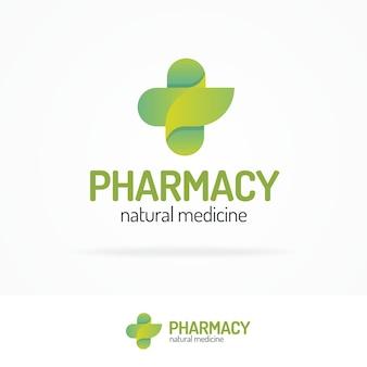 Conjunto de logotipo de farmácia composto por cruz e folha verde para uso medicinal à base de plantas