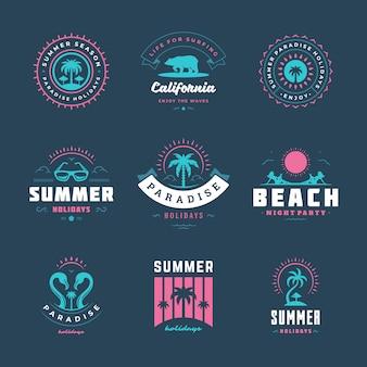 Conjunto de logotipo de férias de verão