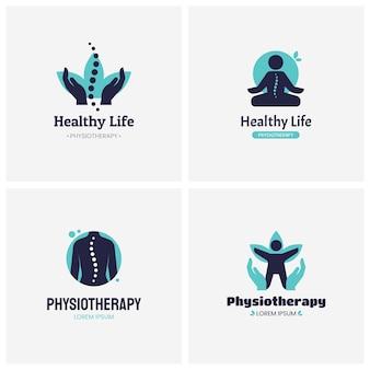 Conjunto de logotipo de fisioterapia criativa