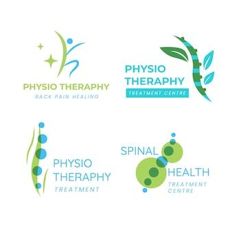 Conjunto de logotipo de fisioterapia de design plano