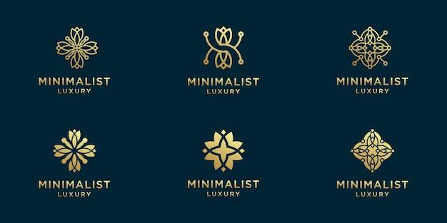 Conjunto de logotipo de flor abstrata
