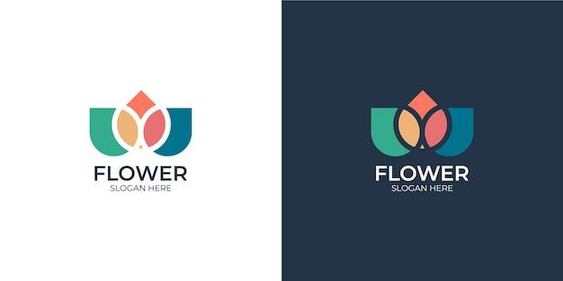 Conjunto de logotipo de flor de estilo de linha minimalista colorida