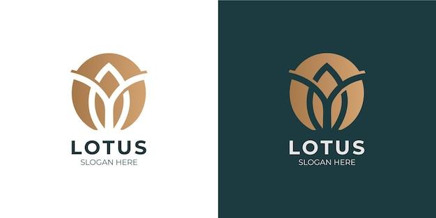 Conjunto de logotipo de flor de lótus moderno e minimalista