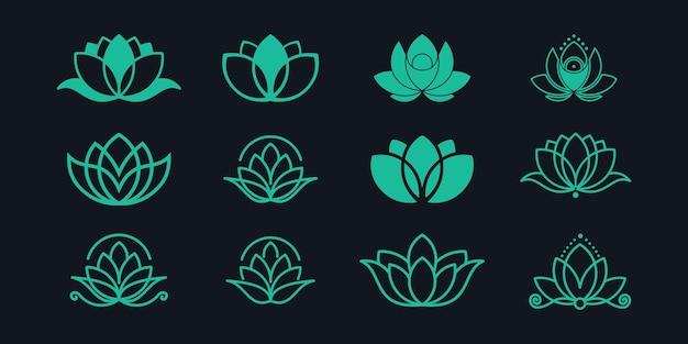 Conjunto de logotipo de flor de lótus.
