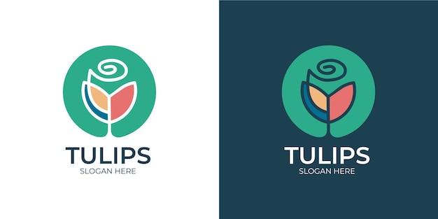 Conjunto de logotipo de flor de tulipa colorida
