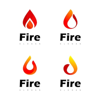 Conjunto de logotipo de fogo