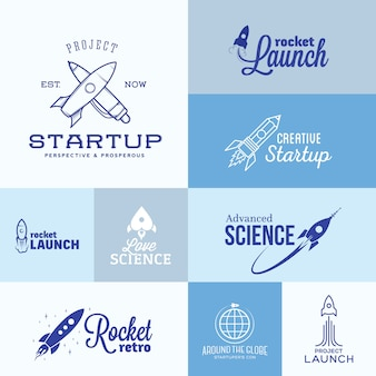 Conjunto de logotipo de foguete