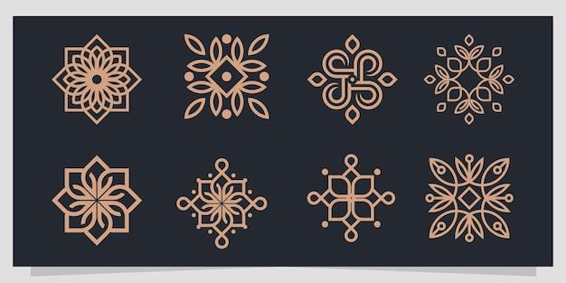 Conjunto de logotipo de folha abstrata de luxo