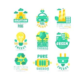 Conjunto de logotipo de fontes alternativas de energia verde