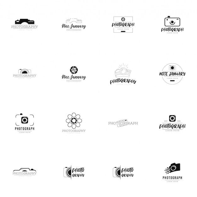 Conjunto de logotipo de fotografia