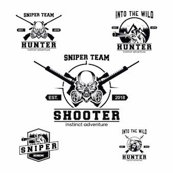 Conjunto de logotipo de franco-atirador