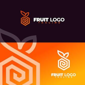 Conjunto de logotipo de frutas simples e moderno