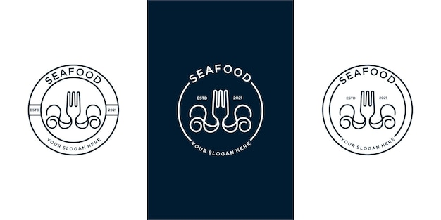 Conjunto de logotipo de frutos do mar com combinação de garfo e lula. vetor premium