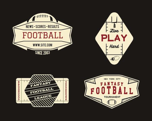 Conjunto de logotipo de futebol americano