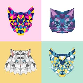 Conjunto de logotipo de gato colorido brilhante para cartões