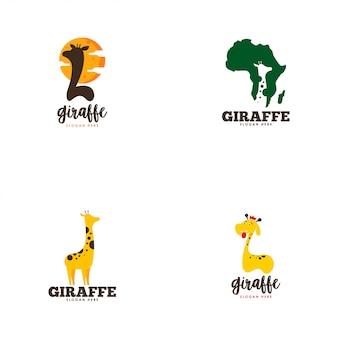 Conjunto de logotipo de girafa