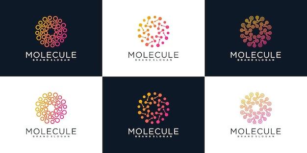 Conjunto de logotipo de globo de tecnologia com conceito de molécula de círculo vetor premium