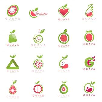 Conjunto de logotipo de goiaba