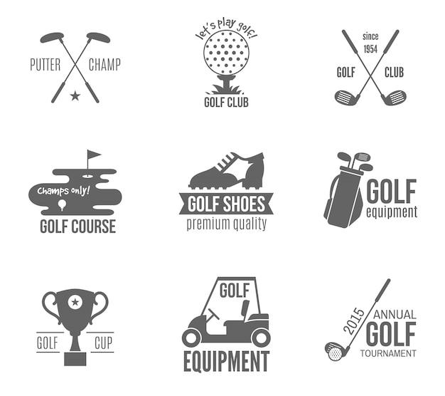 Conjunto de logotipo de golfe