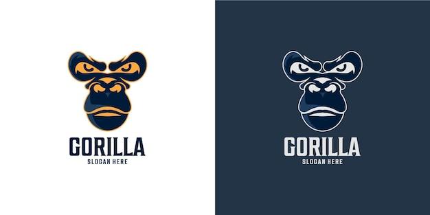 Conjunto de logotipo de gorila simples e elegante
