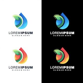 Conjunto de logotipo de gota de água