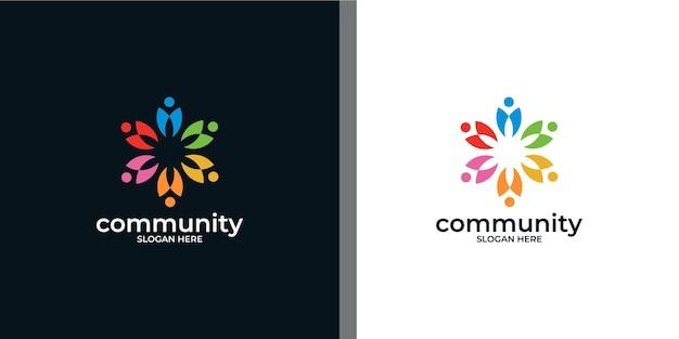 Conjunto de logotipo de grupo social colorido criativo e cartão de visita