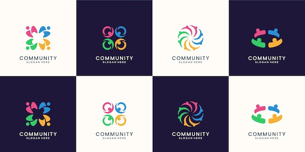 Conjunto de logotipo de grupo social colorido criativo