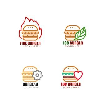 Conjunto de logotipo de hambúrguer