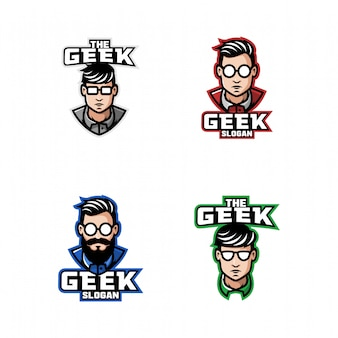 Conjunto de logotipo de homem nerd