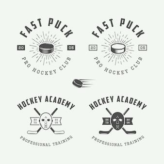 Conjunto de logotipo de hóquei